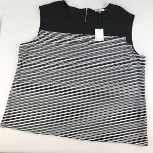 Calvin Klein Sleeveless Black and Soft White Top